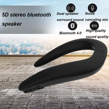 JINSERTA 5D Stereo kablosuz Bluetooth hoparlör su geçirmez giyilebilir halka boyun spor boyun asılı mikrofon Bluetooth ses