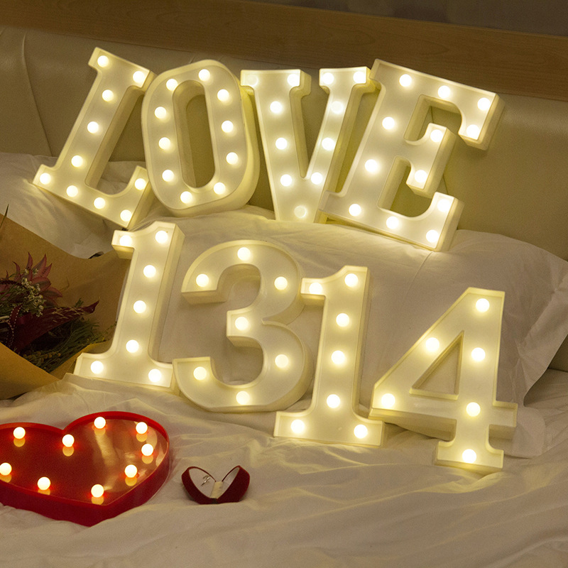 Image 5 - 26 Letters White LED Night Light Marquee Sign Alphabet Lamp For Birthday New Year Valentines Day Decoration-in LED Night Lights from Lights & Lighting