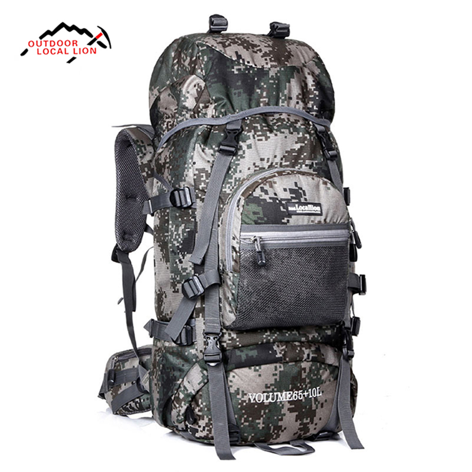LOCAL LION Military Tactical Backpack Hiking Backpack Mountaineering Molle Men Waterproof Mountain Bag Army Solid Rucksack 75L