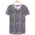 P356 2016 Novo verão moda homens T-shirt V pescoço lazer magro cópia do crânio de manga curta simples masculino fit casual tamanho grande t camisas