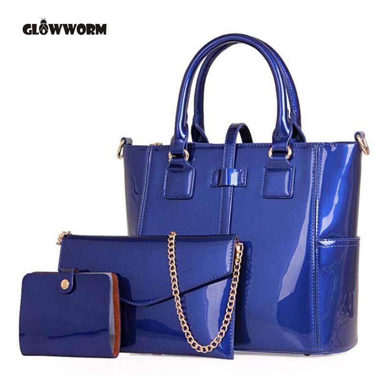 New Casual Women Shoulder Bags Famous Brand Fashion Designer Handbag Solid Patent Leather Composite Bag Women Totes patent leather handbag shoulder bag for women