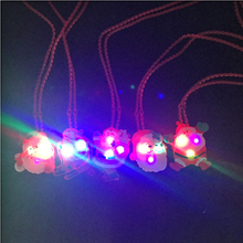 Фотография 12Pcs/lot Christmas Santa Claus Light up led necklace Glowing flashing Pendant toys Party Xmas Gift for Kid toys
