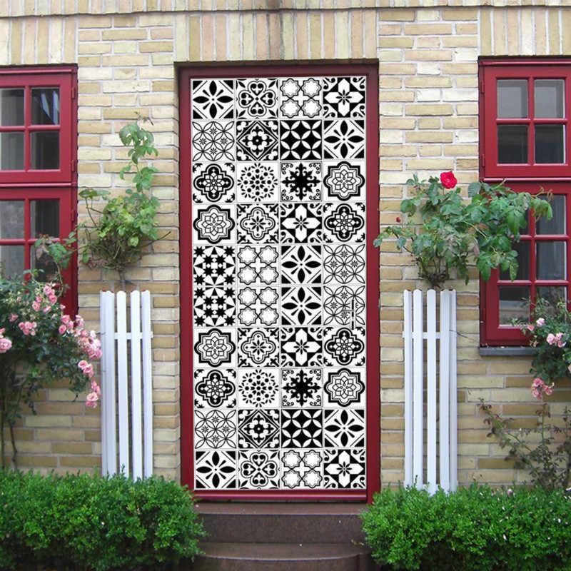 Door Stickers Kaleidoscope Mediterranean Style Color Black and White Tiles Mosaic Bedroom Wooden Door Home Decoration Paste