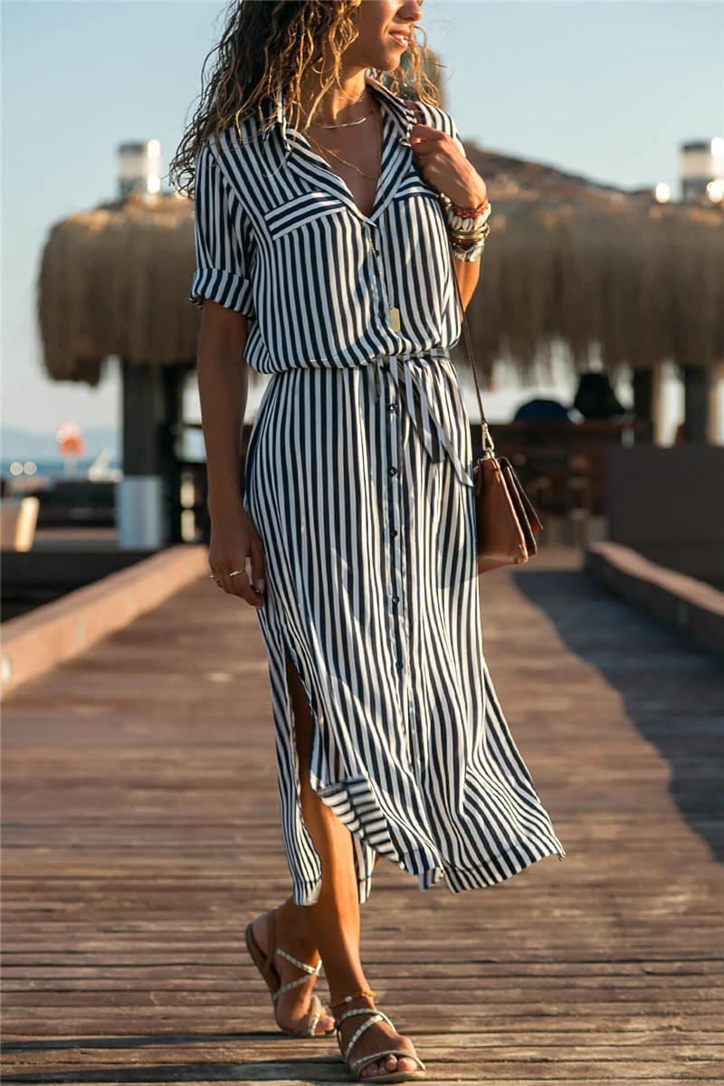 19 Turn Down Collar Office Ladies Stripe Shirt Dress Long Boho Beach Dress Casual Long Sleeve Elegant Party Dress Vestidos 10