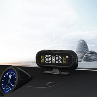 Solar TPMS Car Tire Pressure Alarm Monitor System Display Intelligent Temperature Warning Fuel Save with 4 Sensors