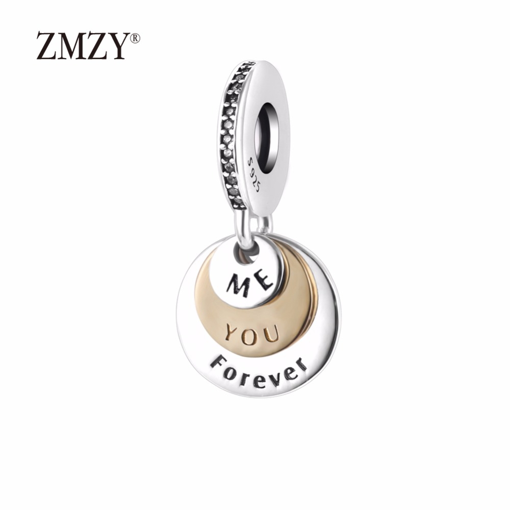 ZMZY Original 925 Sterling Silver Charms Me & You Forever Pendants Beads Fits Pandora Charms Bracelets Women Jewelry