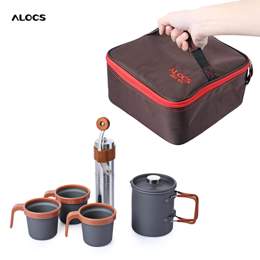 ALOCS 600ML Outdoor Home Stainless Steel French Press Pot Kit Hand Manual Coffee Bean Mill Grinder + 3 Cup Stir Bar for Picnic