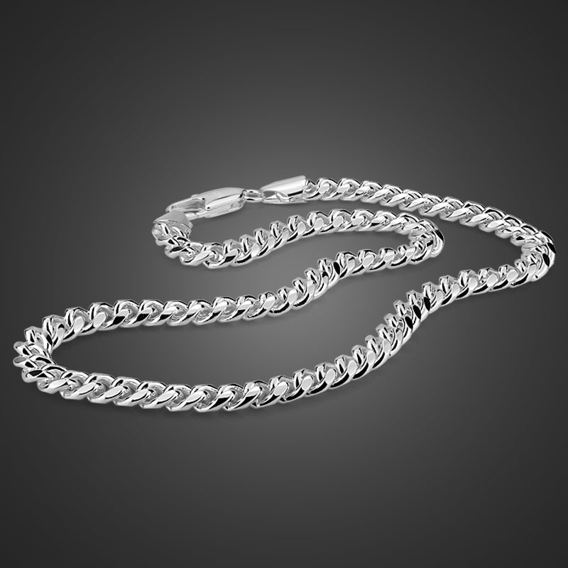 100% sterling silver men's necklace punk style 7.5mm 51cm whip chain necklace Fashion cool men / boy 925 silver jewelry pendant 3025 3026p fashion backpack women school bags for teenagers girls pu leather women backpack