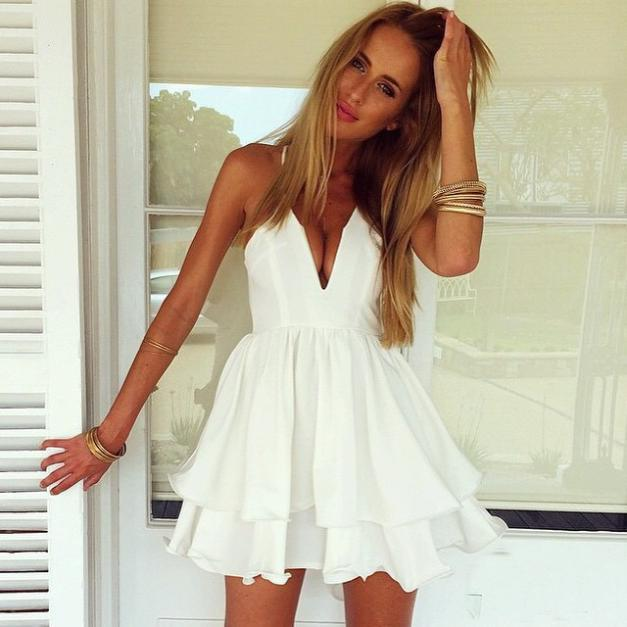 9d43656930b8a US $16.69 |2015 Summer Girl Solid white Dress Flouncing Cute Backless Sling  Hollow Chiffon dress Beach Sexy mini Dresses drop shipping-in Dresses from  ...