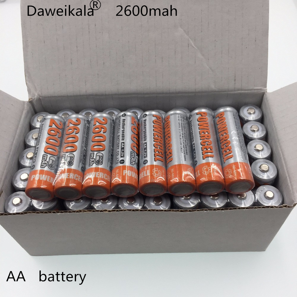 2018 Daweikala Original AA Battery Batteries 1.2V AA 2600mAh Ni-MH Rechargeable Battery Pre-Charged Baterias for Camer Razor