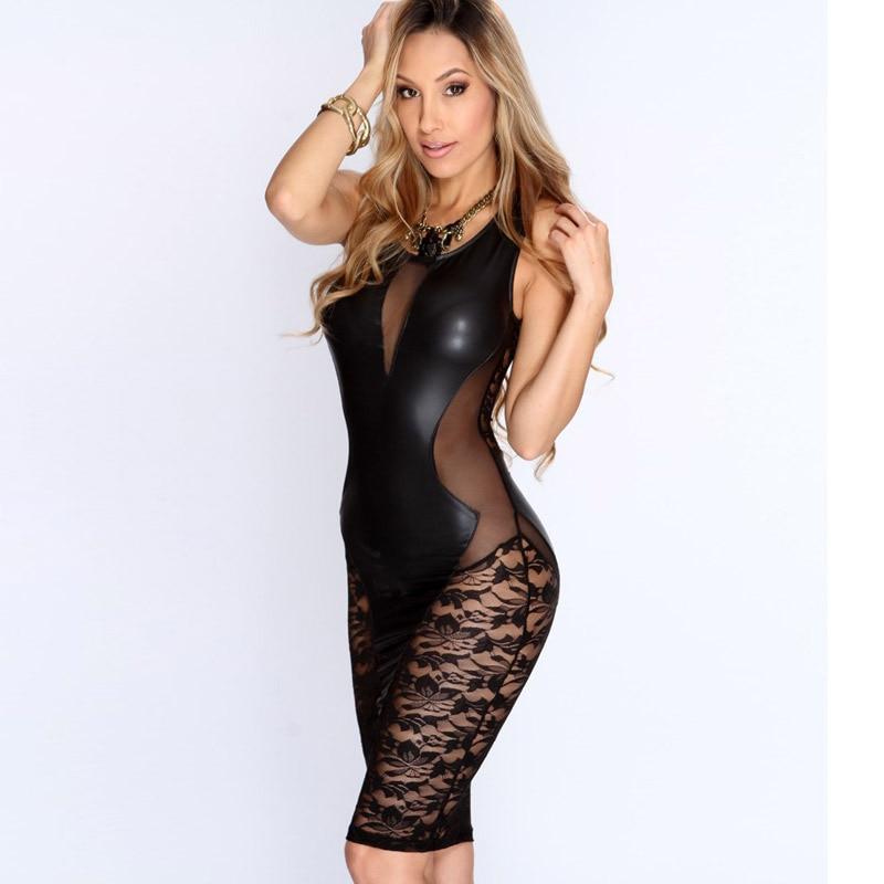 Buy Cheap 2016 New Sexy Fashion Women Dress Black Faux Leather Floral Lace Mesh Little Black Club Dress LC21643