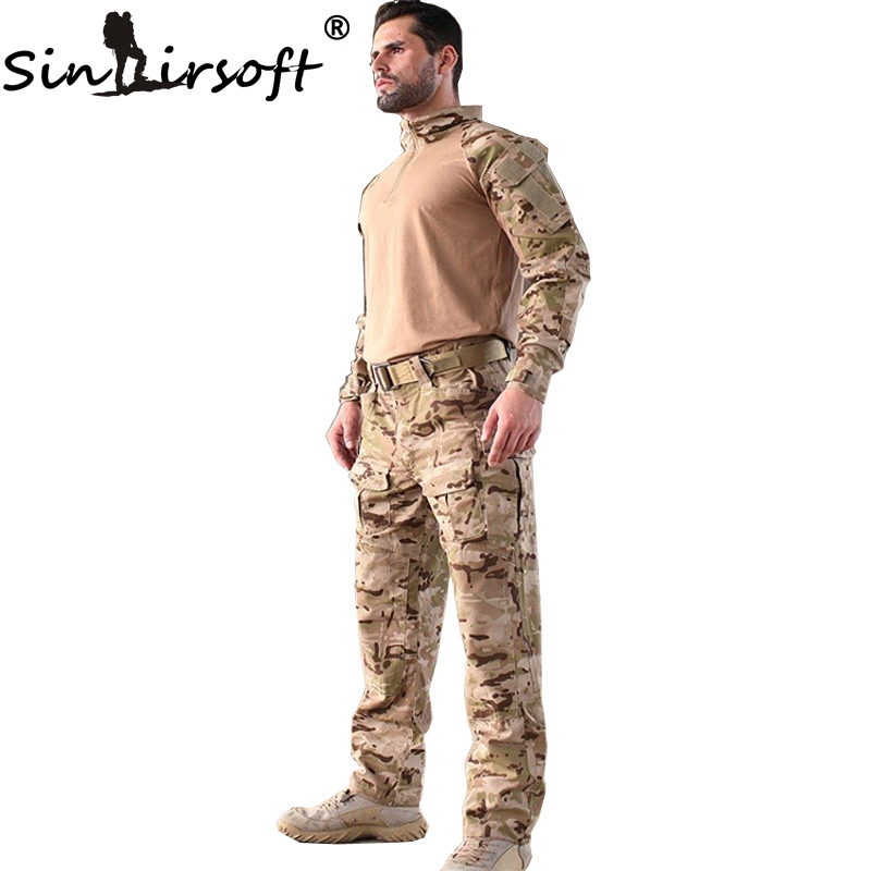 SINAIRSOFT g3 Camouflage Suit Military Airsoft uniform BDU Rapid Assault 1/4 Zip Combat shirt Pants Set Multicam Tactical men combat field shirt long cargo pant hunting airsoft ghillie suit camouflage clothes military bdu tactical uniform set