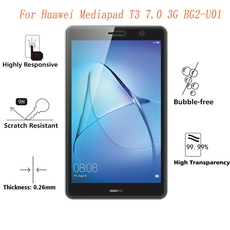 9H Screen Protector For Huawei Mediapad T3 7.0 3G Tempered Glass 4G/3G BG2-U01 For Huawei T3 7inch 4G Screen Protective Glass 7