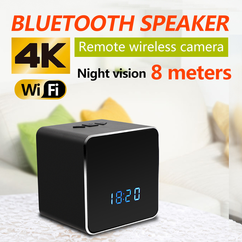 WIFI 4k camcorder video Security Night Vision Mini Camera Hidden Clock Wireless Bluetooth Speaker Music Player Motion Detection