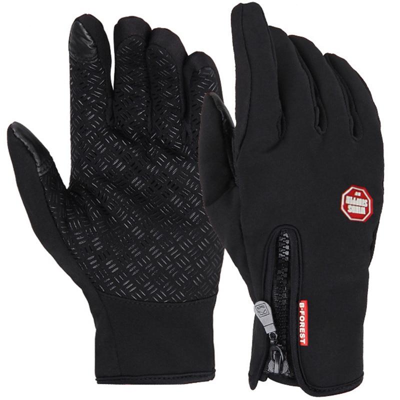 Тактильные перчатки, теплые перчатки для езды на велосипеде, мотоцикле, лыжах, пеших прогулок, с накладками для сенсорных экранов title=