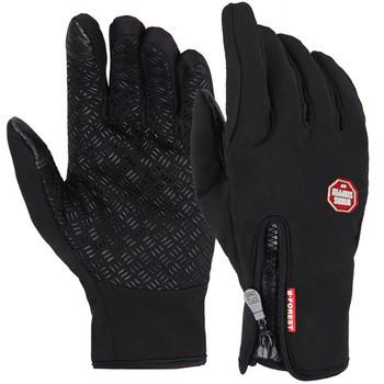 Sportowe rękawice zimowe do ekranów dotykowych utrzymujące ciepło rękawiczki unisex do jazdy rowerem motorem na narty lub wspinaczkę górską pięciopalcowe tanie i dobre opinie CN (pochodzenie) POLIESTER Skóra syntetyczna Z palcami Cycling A0001 Nadające się do prania