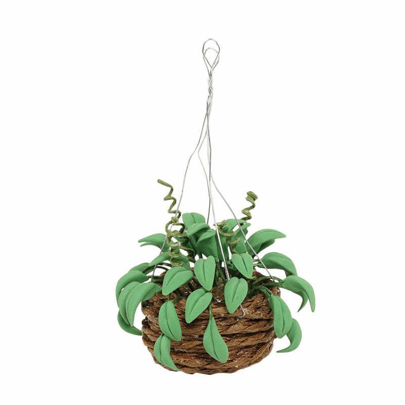 Dongzhur Doll House Mini Rattan Basket Green Leaf Plant Potted Ornament Dollhouse Miniature 1:12 Accessories Green Radish Plant