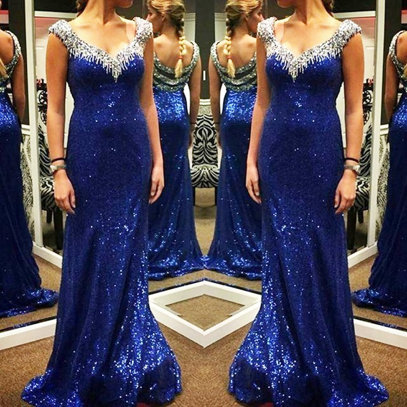 Royal Blue Sequins Mermaid Long Prom Dresses 2019 With Straps Sweetheart Beading Crystals Elegant Formal Evening Wear Party Gown