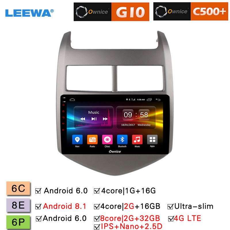LEEWA 9 Android 8.1 8 Core/DDR3 2G/32G/Support 4G LTE Car Media Player With GPS/FM For Chevrolet Aveo sonic 2011 2013 (Aveo 3)
