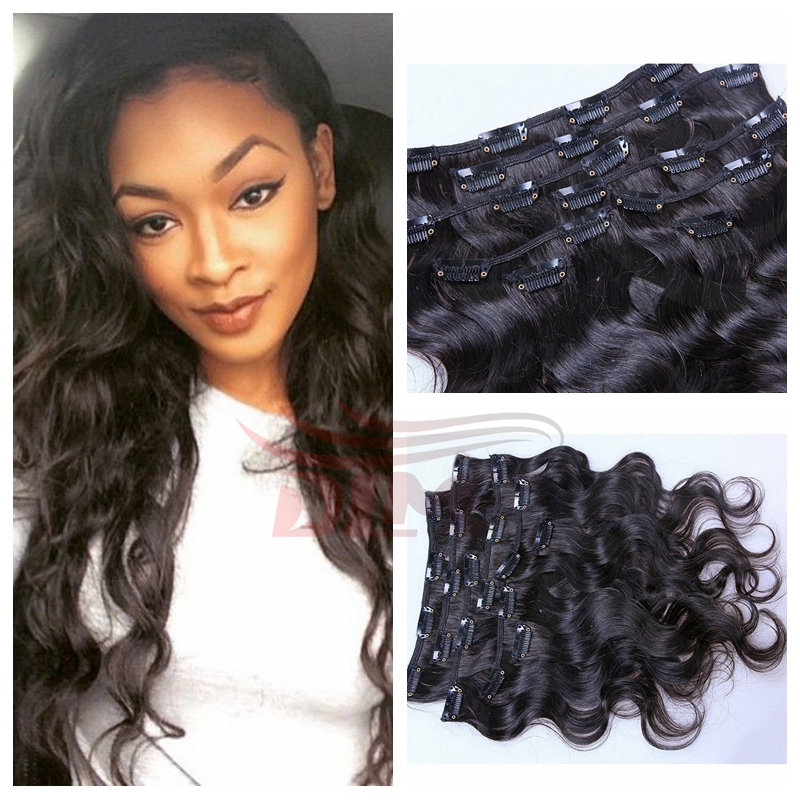 Double Weft Clip In Wavy Human Hair Extensions Peruvian Virgin Hair