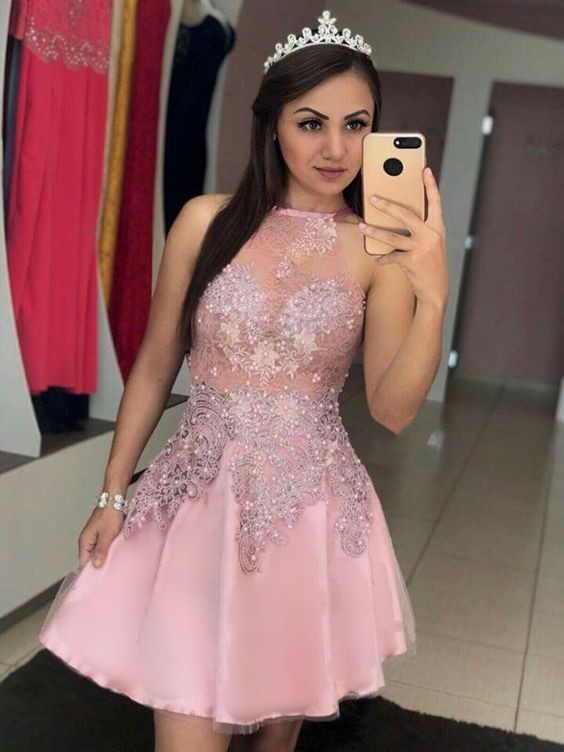Pink Plus Size Short Evening Prom Dress 2019  Cocktail Dresses