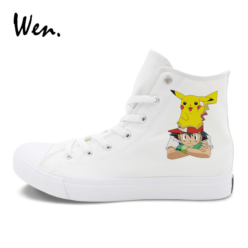 6d000e005f459 Wen Man Woman Pokemon Shoes Design Anime Pikachu Ash Skate Shoes Canvas  Sport Sneakers High Tops-in Skateboarding from Sports & Entertainment on ...