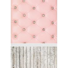 MEHOFOTO Photography Backdrops pink Baroque bed headboard tufted Wood Floor photocall Studio Individual Photo Props Background(China)