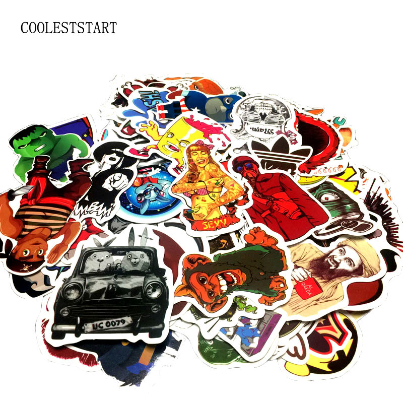 50 random mixed Sticker for Snowboard Skateboard Laptop Luggage Car Fridge Phone DIY toy Styling Vinyl Decal home decor Sticker