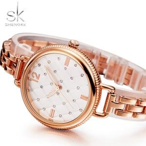 Image 3 - Shengke Merk Quartz Horloges Fashion Horloges Vrouwen Casual Jurk Luxe Gold Dames Rhinestone Waterdicht Reloj Mujer 2020
