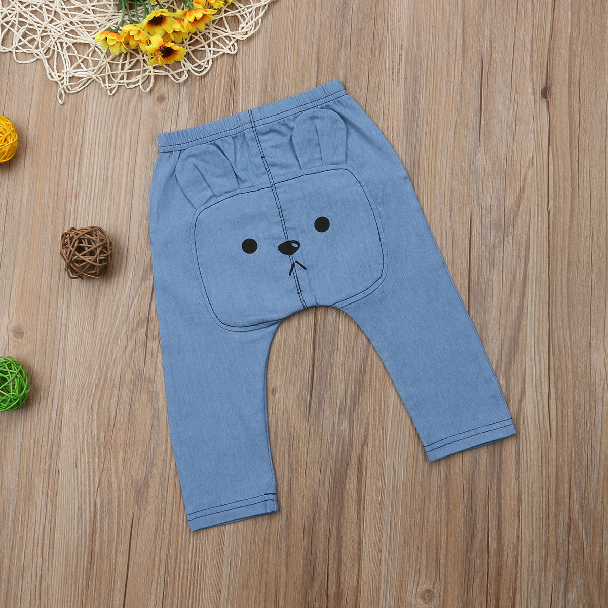 Infant Baby Boys&Girls Clothes Cartoon Bears Denim Clothing Long Pants Bottoms Kids Trousers 0-3 Years 5
