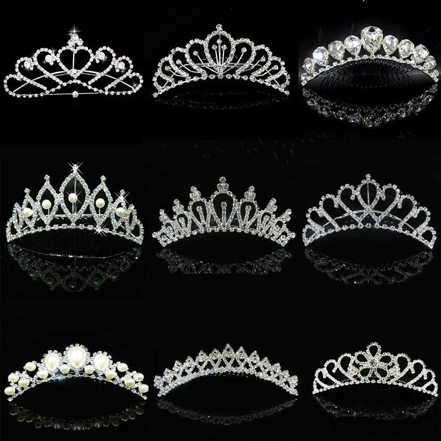 2018 Hot Wholesale Bröllop Hår Tillbehör Bridal Hair Head Smycken Tiaras Och Crowns Girls Bridesmaid Bride Crown Tiara comb