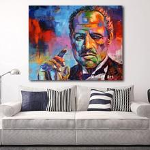 цена large handpainted Figure oil Painting Colorful Godfather Modern Canvas Art Wall Pictures For Living Room bar aisle Home Decor онлайн в 2017 году