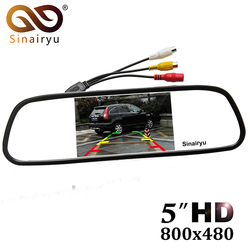 5 Digital Color TFT 800 480 LCD Car Parking Mirror Monitor 2 Video Input For Rear