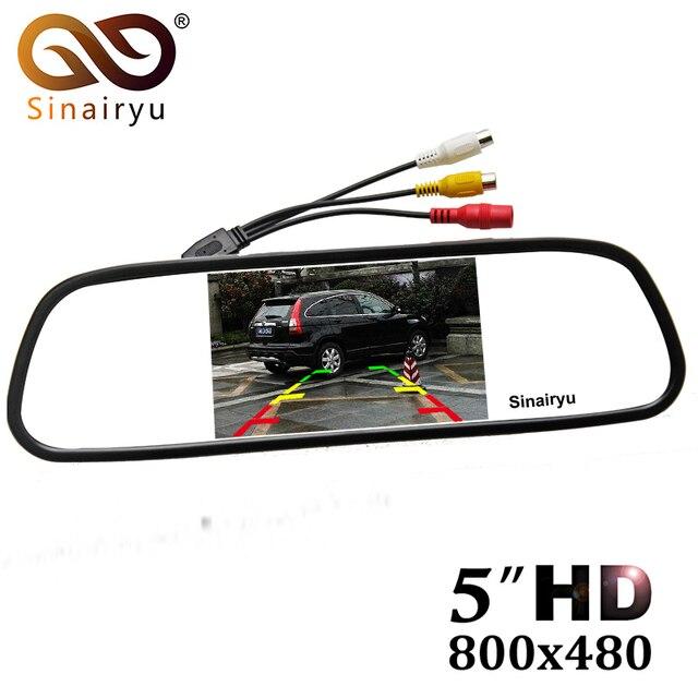 """5 """"Digital TFT a Color de 800*480 LCD coche espejo Monitor de 2 de entrada de vídeo para la cámara de visión trasera aparcamiento sistema de asistencia"""