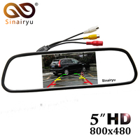 5 Digital Color TFT 800*480 LCD Car Parking Mirror Monitor 2 Video Input For Rear view Camera Parking Assistance System