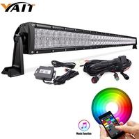 Yait LED Light Bar 52inch RGB 5D 300W Reflector Combo Beam Color Changing by Bluetooth App Control & Free Wire Harness