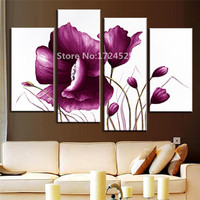 4 Pcs Set Canvas Wall Art Picture Combined Flower Paintings Plum Purple Modern Abstract HD Picture Painting On The Wall Unframed