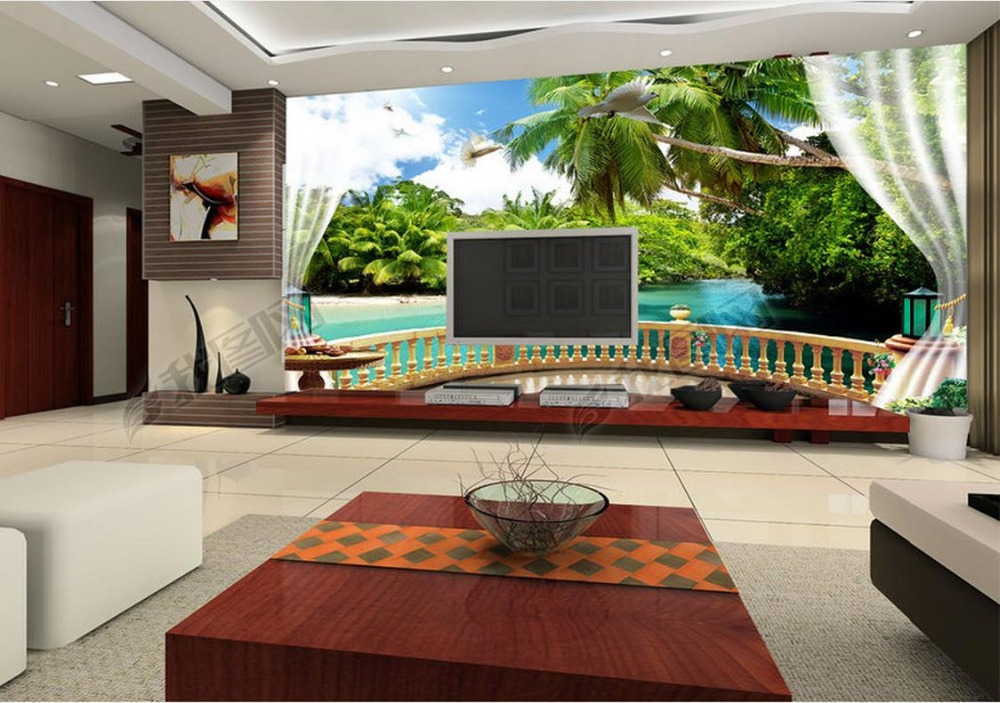 Custom 3d Photo Wall Mural Wallpapers For Living Room Balcony Maldives Sea  View 3d Landscape Mural Wallpaper Roll Size In Wallpapers From Home  Improvement ... Part 88
