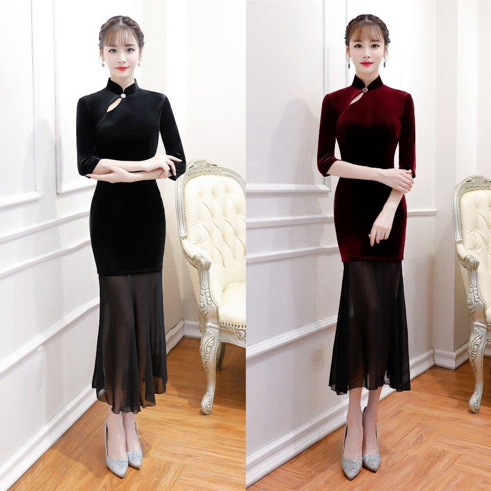 Robe chinoise cheongsam robe qipao moderne robe longue femme costume traditionnel robe orientale cérémonie femme robes de chine