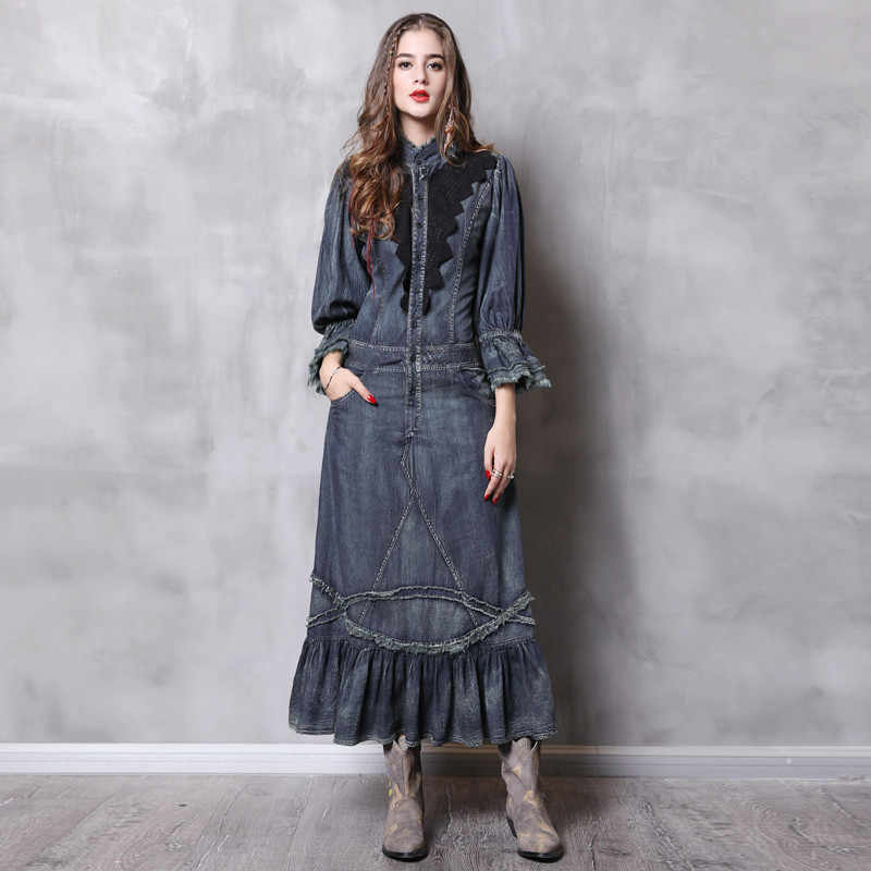 Винтажное осеннее женское платье с карманами, новинка 2018, джинсовые платья со стоячим воротником, Длинное Элегантное кружевное лоскутное платье, Vestidos Femininos
