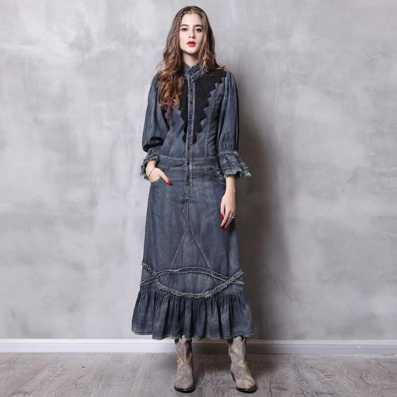 Vintage Automne Robe Femmes Avec Poches 2018 Nouveau Denim Robes Col montant Longue Élégante Dentelle Patchwork Robes Femininos