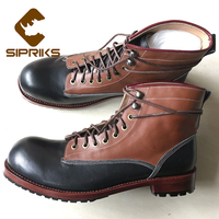 Sipriks Unique Designer Ankle Boots Men Black Tan Leather Dress Boots Luxury Besopke Goodyear Welted Boots American Work Indian