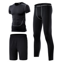 New Compression Running Training Suits Sport Clothing Basketball Jerseys Short Sleeve Gym Fitness Tights Track Suit 3 Pieces