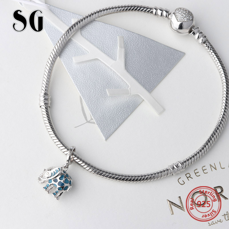 b3d4b10e2 Aliexpress.com : Buy Fit authentic pandora charms Bracelet silver 925 cute  glowing elephant pendant beads with enamel diy jewelry making women Gifts  from ...