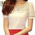 3d camisa blusa de renda chiffon mulheres blusas femininas 2016 verão coreano casual beading tops mulheres plus size clothing lady escritório