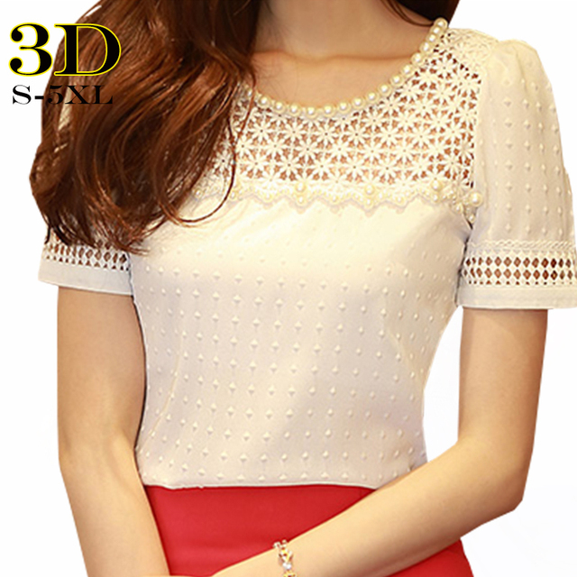 3d camisa blusa de renda chiffon mulheres blusas femininas 2017 verão coreano casual beading tops mulheres plus size clothing lady escritório