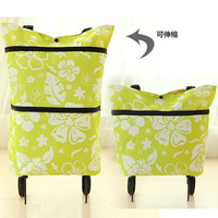 Candy color the portable folding supermarket shopping cart trolley wheel package storage bags