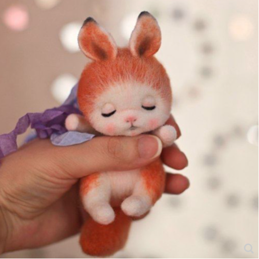Little fox pendant adult DIY doll doll wool needlepoint kit  wool felt needle felting decoration craft needlecraft DIY ha