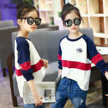 New Spring Autumn Top T-shirts for Teens Girls Long Sleeve Striped Sweatshirt Children Casual Clothes for Girls 12 14 Years Old недорого