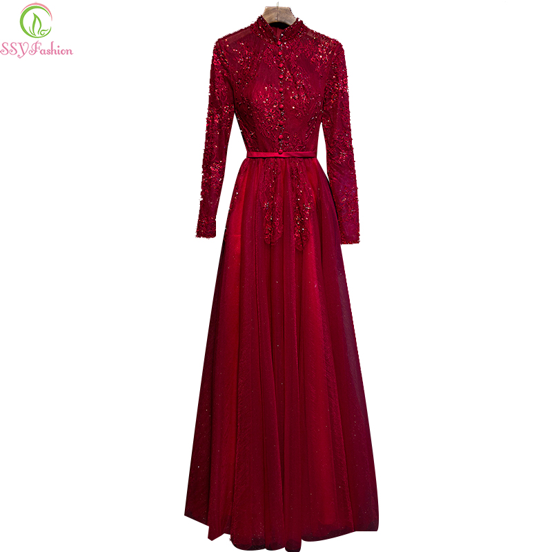 Evening Dress Winter SSYFashion Bride High Collar Transparent Long ...